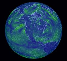 Earth Wind Map - An animated map of global wind conditions. Rotate globe with your mouse to see different angles.