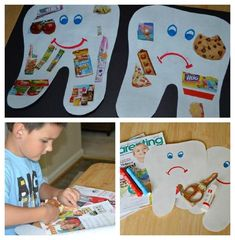 """Preschool dental education dental lessons Hygiene Lesson - Happy Tooth, Sad Tooth Collage: What makes our teeth """"happy"""" and """"sad""""? Hygiene Lessons, Health Lessons, Preschool Lessons, Preschool Crafts, Kids Crafts, Classroom Activities, Activities For Kids, Dental Health Month, Health Unit"""