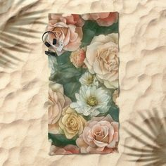 Floral rose pattern Beach Towel by StrijkDesign | Society6