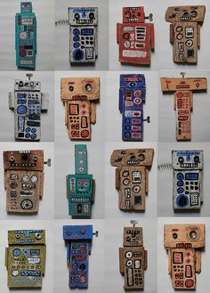 maybe use scrap cardboard.Use leftover cardboard boxes. Group project for grade? Cardboard Robot, Cardboard Sculpture, Cardboard Crafts, Projects For Kids, Art Projects, Crafts For Kids, Tech Art, Ecole Art, Art Lessons Elementary