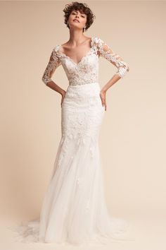 BHLDN's Pronovias Pique Gown in Ivory