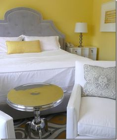love this whole pin board of yellow and grey