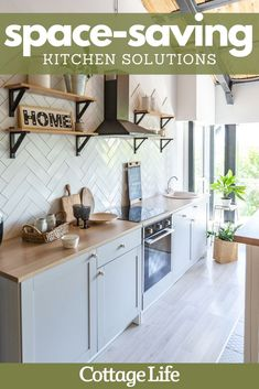 Try out these space-saving solutions for your kitchen. Get inspiration for your next kitchen remodel. #kitchenideas #kitchenremodel #kitchen #spacesaving #organization #interiordesign #homedecor #homedesign #CottageLife Kitchen Cabinets, Home Decor, Kitchen Furniture, House Decorations, Paintings, Countertops, Home Decoration, Wood, Colors