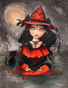 Witch Black Cat Autumn Fine Art Giclee Print by MollyHarrisonArt, $18.00