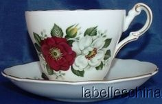 Regency English Tea Cup and Saucer Blood Red and White Prairie Roses Gold Teacup<br/>Cups & Saucers - 63525