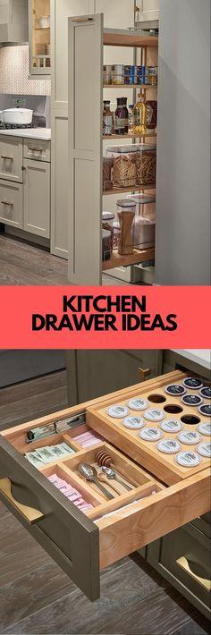 DIY Kitchen Drawer Ideas #drawers #kitchendrawers Drawer Inspiration, Kitchen Inspiration, New Kitchen, Kitchen Ideas, Drawer Design, Kitchen Drawers, Cool Kitchens, Diy Home Decor, Drawer Ideas