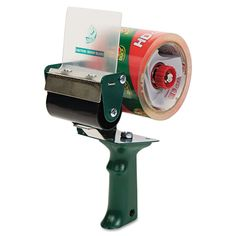 """Extra-Wide Packaging Tape Dispenser, 3"""" Core, Green"""
