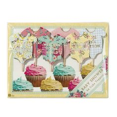 Truly Baby Cake Toppers -Show off your little baby shower cakes in style with our neat babygrow cake toppers. Each pack contains 24 cake toppers in 12 vintage style babygrow design, an ideal gift for a mum to be.  The cake toppers feature lettering such as 'Bundle of Joy', 'Welcome to the world' and 'Yummy Mummy'.Why not combine with our reversible baby shower garland, the perfect decoration for a stylish classy baby shower!  Imported from England Putti Fine Furnishings Canada