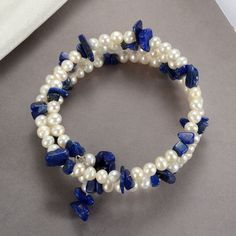 White Freshwater Pearl Nugget Lapis Lazuli Bracelet Memory Wire Adjustable - Before After DIY Gold Pearl Ring, Baroque Pearl Necklace, Pearl Jewelry, Gemstone Jewelry, Pearl Necklaces, Diy Jewelry, Jewelery, Jewelry Design, Freshwater Pearl Bracelet