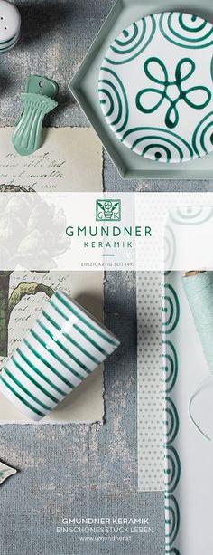 Gmundner Keramik Design Grüngeflammt - handbemaltes Geschirr seit 1492 #interior #einrichten #dishes #modern Keramik Design, Soap, Pure Products, Modern, Decor, Hand Painted Dishes, Handmade, Handarbeit, Trendy Tree