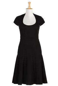 Cotton Knit Seamed Panel Dresses, Jersey Knit Dresses Shop women's fashion design   Women   Dresses & Special Occasion   CL0034596   eShakti -- Dress length: above the knee; Sleeves: long; Neckline: as shown