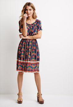 Rose Print Peasant Dress | Forever 21 - 2000115539
