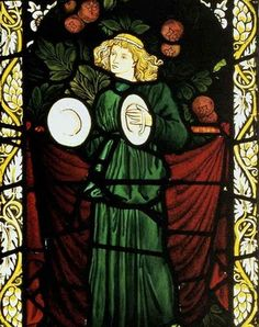 Minstrel angel with Cymbals  stained glass  1869