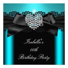 Teal Blue Diamond Heart Birthday Party