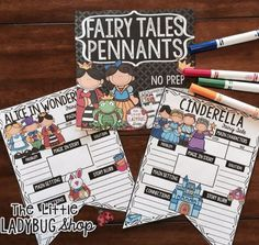 Fairy Tales Pennants Print & Go with these pennants perfect to use as you read all your wonderful fairy tale stories!! Your students will LOVE having these displayed after their reading! These Fairy Tale Poster Activities works perfectly for students in 2nd grade, 3rd grade, 4th grade.