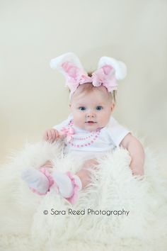 Pink and White Easter Light Pink Bow Bunny Ears Stretch Headband GREAT PHOTOGRAPHY PROP, via Etsy.