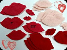 Felt Lips Kisses 24 pcs SMALL 1size only  by SunshineAnnieDieCuts, $3.58