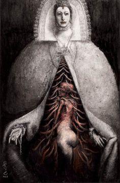 Illustration by Santiago Caruso. Arte Horror, Horror Art, Dark Fantasy Art, Dark Art, Macabre Art, Occult Art, Creepy Art, Scary, Surreal Art