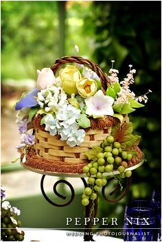 Wedding Cake ~ Woven Basket filled with beautiful sugar flowers
