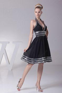 canada bridal store elegant halter black chiffon knee length wholesale modern dress bridesmaid price