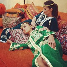 Sonia and Samar lounging in their Marmise velvet caftans!