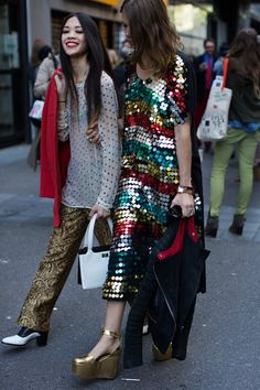 fashionable friends - sequins and polka dots