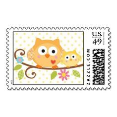 HAPPI TREE OWL BABY SHOWER POSTAGE STAMPS