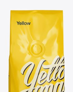 250g Glossy Coffee Bag With Valve Mockup - Front View (Close-Up)