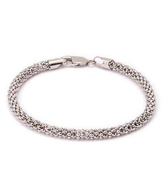 Loving this White Gold Popcorn Link Bracelet on #zulily! #zulilyfinds