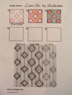Tinker Tangles: Tangle Pattern: Zuan Shi by JJ LaBarbera Op Art, Zantangle Art, Zentangle Drawings, Doodles Zentangles, Doodle Drawings, Doodle Patterns, Zentangle Patterns, Art Patterns, Doodle Borders