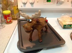 Moose figurine before baking polymer clay