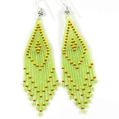 Paridot Green Red Yellow Seed Beaded Earrings Wholesale Bead Jewelry E15/39