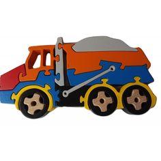 Puinen palapeli käsikone kipattava dumpperi kuorma auto kone massiivinen pyökki puu lelu hyötyajoneuvo lahja Car Carrier, Puzzle Box, Wooden Puzzles, Wood Toys, Woodworking, Trucks, Handmade, Gifts, Kid Art