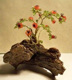 Wire bead tree sculpture