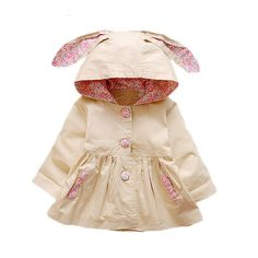 71f67fc3a282 New Spring Autumn Baby Girls Coat Love Rabbit Infant Newborn Jackets Hooded  Kids Outerwear Windbreaker For Baby Girls Clothes