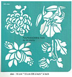 Modèle de pochoirs motif au pochoir « 4 fleurs » 6 pouces/15 cm, réutilisable, adhésif, flexible, pour l'argile polymère, tissu, bois, verre, fabrication de cartes