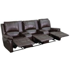 Complete your theater room with this Flash Furniture Allure Series Reclining Pillow Back Brown Leather Theater Seating Unit with Cup Holders. Home Theater Rooms, Home Theater Design, Home Theater Seating, Theater Seats, Cinema Room, At Home Movie Theater, Theater Recliners, Home Theaters, Houses