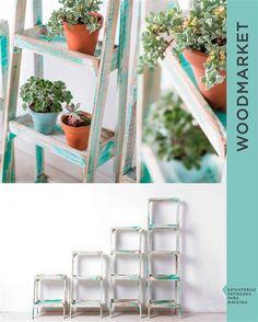 FAUREAR — estanterías para macetas dewoodmarket Ladder Decor, Shelves, Bedroom, Wood, Diy, Furniture, Home Decor, Ideas, Woodworking