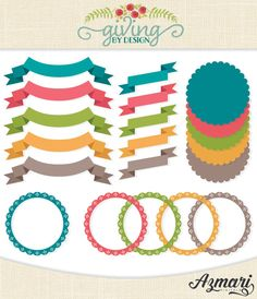 Digital Ribbons Banners Labels Borders Clip Art by GivingbyDesign, $3.50