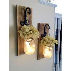 Rustic Mason Jar Sconce With Lights ($24) ❤ liked on Polyvore featuring home, lighting, wall lights, gold, home & living, sconces, ship lamp, ship lights, rustic lamps and ship light