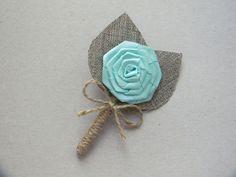 Mint Flower burlap Boutonniere by WeddingForYou on Etsy, $6.00
