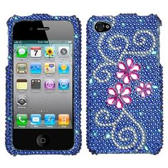 Juicy Flower With Full Rhinestones Hard Protector Case Cover For Apple iPhone 4G