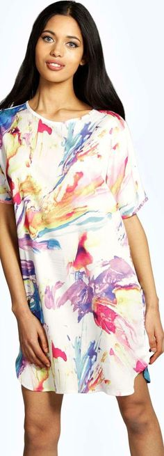 Scarlett Bright Paint Print Woven Shift Dress - Dresses  - Street Style, Fashion Looks And Outfit Ideas For Spring And Summer 2017