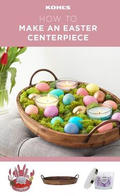 Make the most of Easter with an easy DIY centerpiece that proves you're the hostess with the mostest. 1) Start with a wooden tray. 2) Add a layer of moss. 3) Top the moss with copper, gold and pastel Easter eggs. 4) Finish with a few small candles or put a bunny-shaped candleholder in the center of the tray with one candle in it. Place the tray on your coffee table or dining room table, light the candles and let the fun begin! Refresh your home for spring with Kohl's. #centerpieceideas…