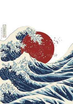 Sol rojo con olas de Hokusai