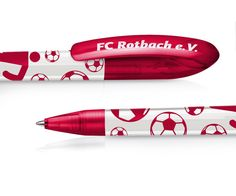 Werbekugelschreiber für Fussballverein, Beolino Brilliant 901 rot weiss