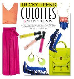 """Tricky Trend: Culottes & Neon Accents"" by serepunky ❤ liked on Polyvore featuring Apiece Apart, David Aubrey, BCBGMAXAZRIA, Giuseppe Zanotti, Alexis Bittar, TrickyTrend, neonaccents and culottes"