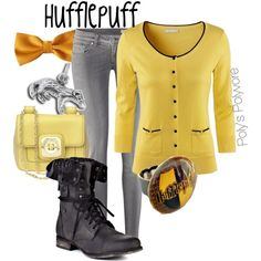 """Hufflepuff"" by polyspolyvore on Polyvore"