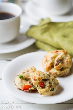savory breakfast scone with sausage, red pepper and green onion