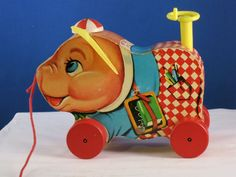 This is a 1959 Fisher Price Peter Pig pull toy. 5 long, 4 high and 2 1/2 High. in nice condition. Fisher Price Number 479.